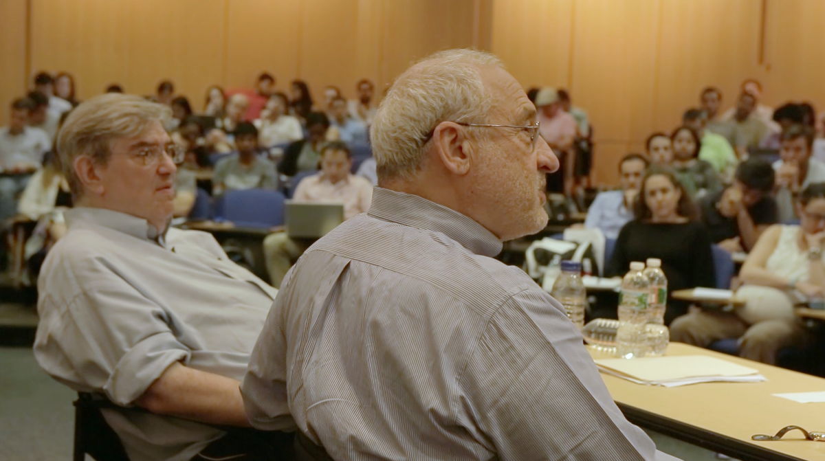 Joseph Sitglitz and Bruce Greenwald teaching their elective course at Columbia Business School.