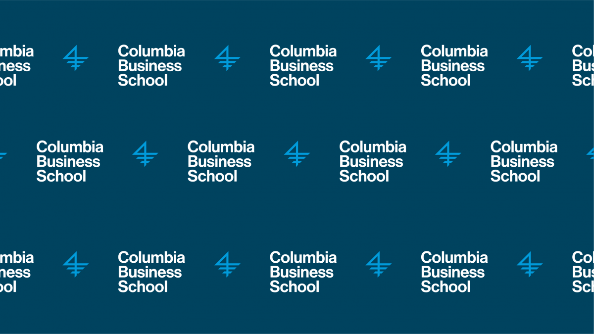 A graphic of the Columbia Business School logo, repeating itself on a marine blue