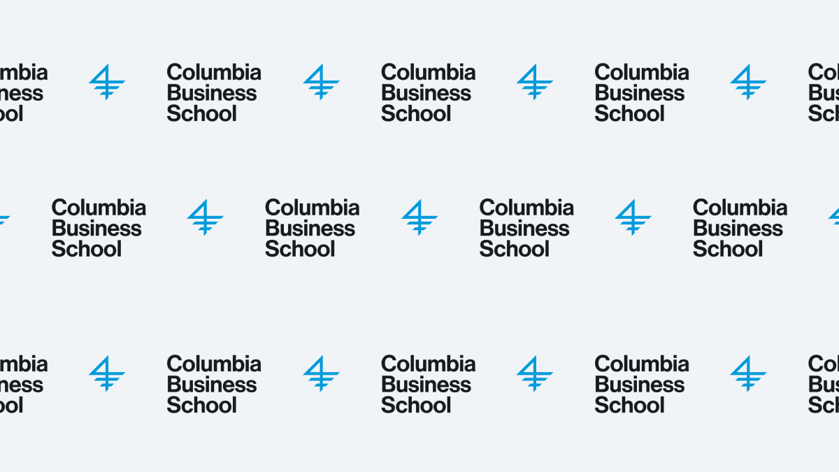 A graphic of the Columbia Business School logo, repeating itself on a very light gray
