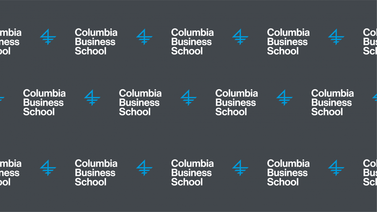 A graphic of the Columbia Business School logo, repeating itself on a very steely gray