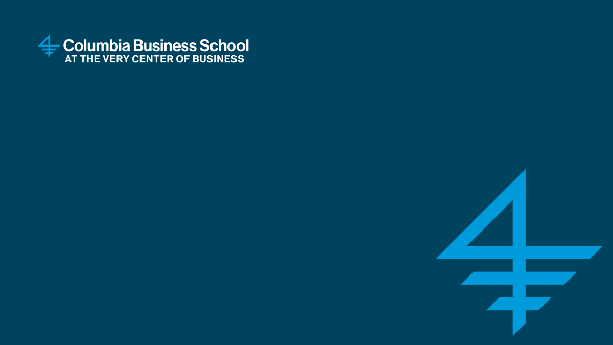 A graphic of the Columbia Business School logo on a marine blue