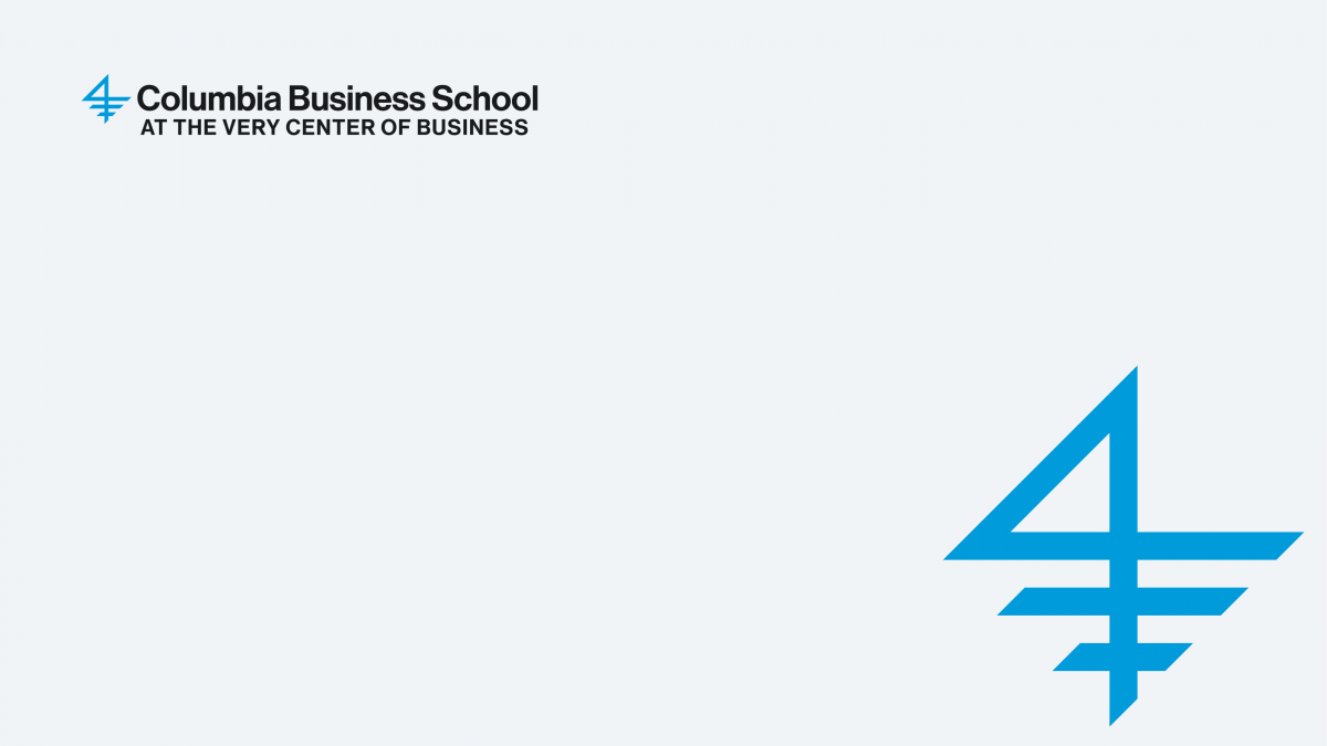 A graphic of the Columbia Business School logo on a very light gray