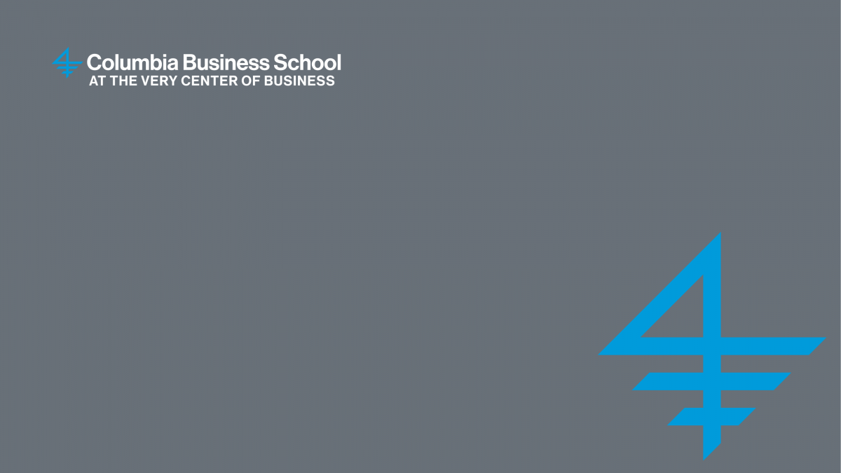A graphic of the Columbia Business School logo on a very steely gray