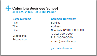 Business materials identity guidelines columbia business school business cards colourmoves