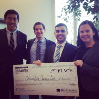 Photo: The Columbia Business School 3rd place team at the 2015 UNC Real Estate Development Challenge. Pictured (from left to right) are Andrew Kim '16, Rob Nitkin '15, Dennis Giuliano '15, and Ashley McDonald '15.