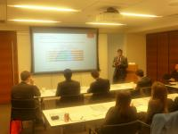 Photo: Sridhar Vankayala '08 of Cushman & Wakefield addresses Columbia Business School real estate students.