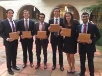 Photo: CBS Winning Team (pictured from left to right) Aaron Kazam '15, Chris Doman '15, Azeem Ahamed '15, Dan Wagman '15, Lauren McDermott '15, and Nikhil Chaudhri '16.
