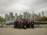 Photo: REA students at Brooklyn Bridge Park on the Toll Brothers' Pierhouse site tour.