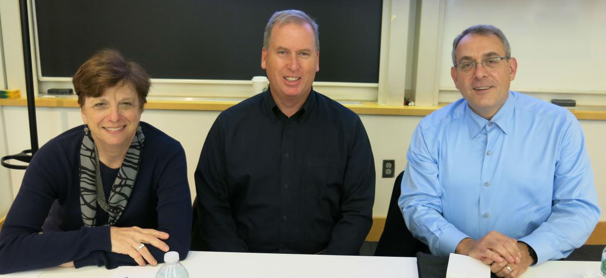 Professor Lynne B. Sagalyn, Martin P. Connor of Toll Brothers, and Michael Berman '86 of GGP