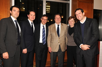 Photo: (l-r) Randy Giraldo '04, Erik Horvat '04, Andrew Jacobs '96, Daniele Bodini '72, Prof. Lynne Sagalyn, and Joe Smith '99.