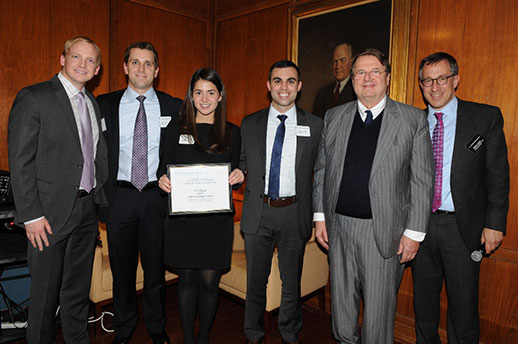 Photo: (l-r) Kris Ronning '15, Chris Doman '15, Sarah Pous '15, and Dennis Giuliano '15 alongside competition sponsor Daneiele Bodini '72 and Adjunct Associate Professor Andrew C. Jacobs '96