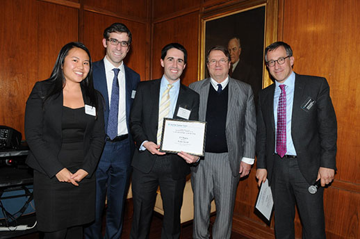 Photo: (l-r) Second-place team members Joanna Wong '15, Joe Seidenfeld '15, and Rich Eneim '15 with competition sponsor Daniele Bodini '72 and Adjunct Associate Professor Andrew C. Jacobs '96.