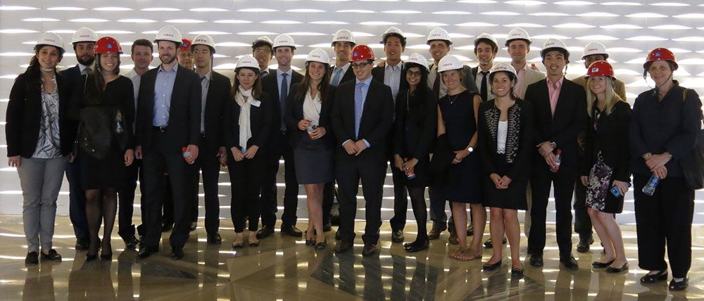 Photo: 2016 REA/Chazen Trip participants visiting Ping An Financial Center, a new office development by KPF and the third-tallest building in China.