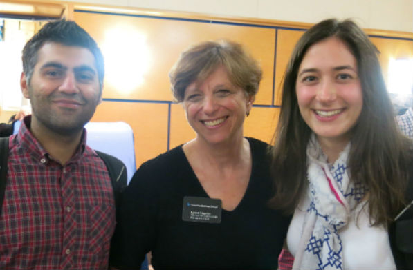 Photo of Professor Lynne B. Sagalyn with real estate students.