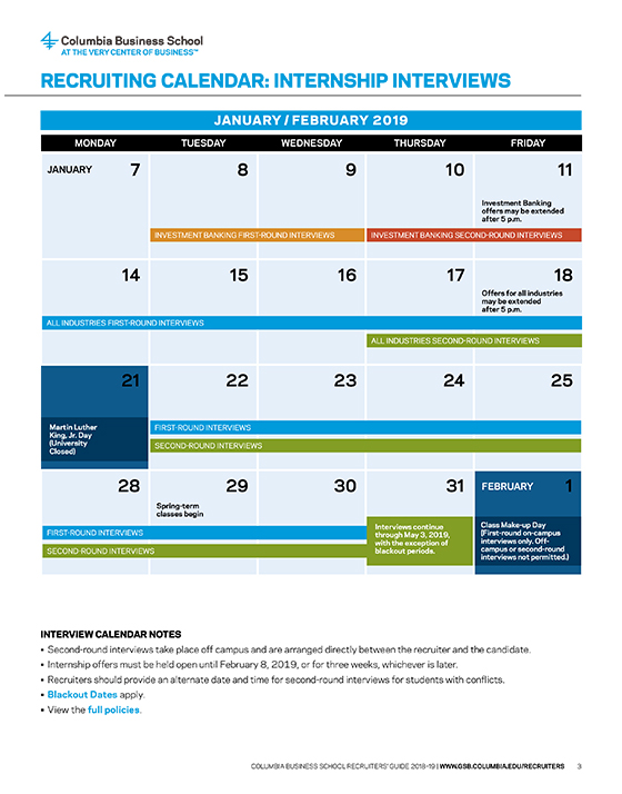 internship recruiting calendar  u0026 policies
