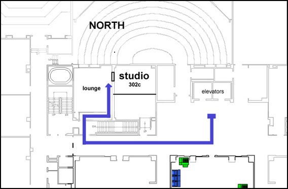 The media studio is to the right of the elevators as you exit and through the stairwell