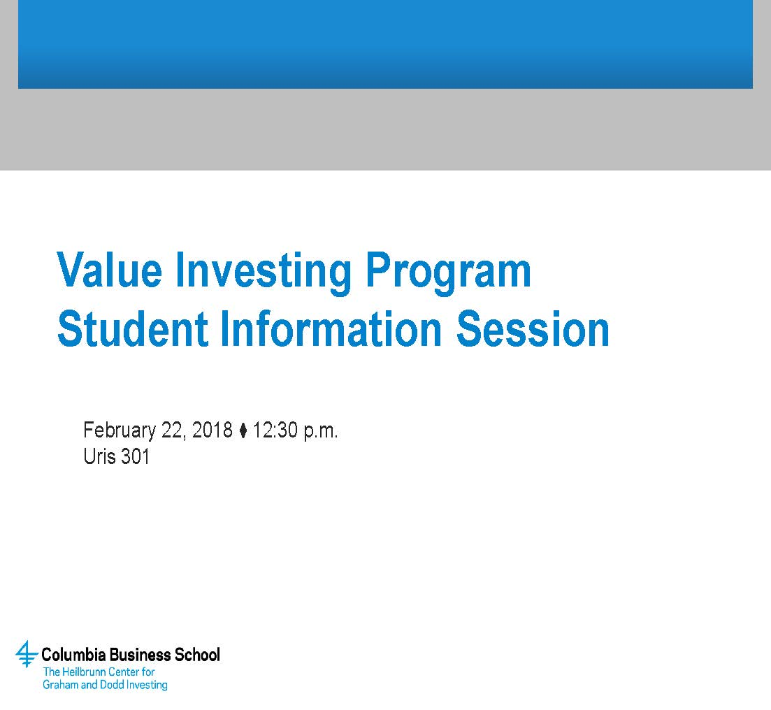 Value Investing Program The Heilbrunn Center For Graham Dodd