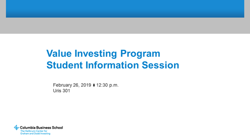 Value Investing Program Slides